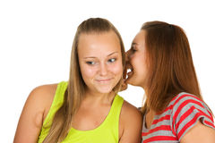 Two teenage girls gossiping Stock Image