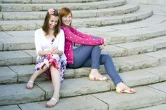 Two teenage girls happy summer vacation Stock Photo