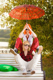 Two Teenage Girls Have Fun At Royalty Free Stock Images