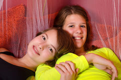 Two teenage girls having fun Stock Images
