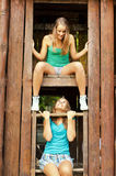 Two teenage girls having fun outdoor in summer Royalty Free Stock Images