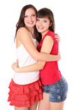Two teenage girls hugging Royalty Free Stock Image