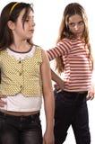 Two teenage girls isolated on white Royalty Free Stock Photo