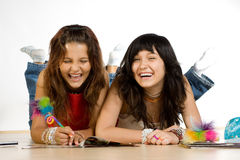 Two teenage girls laughing Royalty Free Stock Image