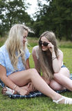 Two teenage girls laughing Stock Images