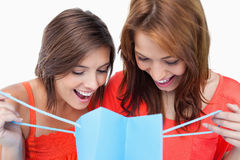 Two teenage girls looking at a their purchases Stock Images