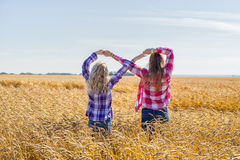Two teenage girls making infinity sign. Two young girls plaid shirts wheat field making infinity symbol arms royalty free stock images
