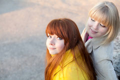 TWo teenage girls outdoors Royalty Free Stock Images