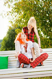 Two teenage girls at park Stock Photo