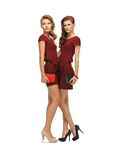 Two teenage girls in red dresses with clutches Stock Images