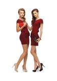 Two teenage girls in red dresses with clutches Royalty Free Stock Photography