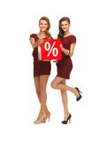 Two teenage girls in red dresses with percent sign Royalty Free Stock Photo