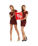 Two teenage girls in red dresses with percent sign Stock Photo