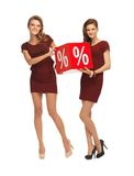 Two teenage girls in red dresses with percent sign Royalty Free Stock Images
