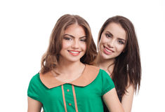 Two teenage girls smiling Stock Photo