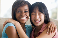 Two Teenage Girls Smiling Stock Images