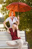 Two teenage girls at summer park Royalty Free Stock Images