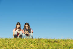 Two Teenage Girls Using Mobile In Park Stock Photos