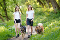 Two teenage girls walking with her dogs in park Royalty Free Stock Images