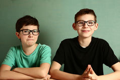 Two teenager boys in myopia glasses close up Royalty Free Stock Image