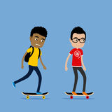 Two teenager boys riding skateboards. Cute cartoon illustration Royalty Free Stock Photography