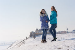 Two teenager girl in winter Royalty Free Stock Photography