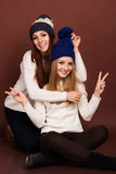 Two teenager girls friends in winter clothes Royalty Free Stock Images
