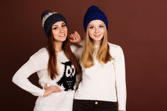 Two teenager girls in winter clothes Stock Photography
