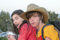 Two teenager on journey Royalty Free Stock Photo