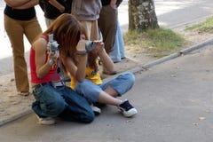 Two teenagers. Two teenager photographers Stock Photo