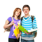 Two teenagers. Two young students a over white background Royalty Free Stock Image
