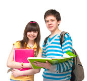Two teenagers. Two young students a over white background Stock Photo
