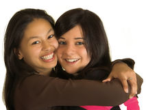 She and She. Two teenagers embracing eachother in friendship Stock Photos