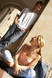 Two teenagers flirting. Royalty Free Stock Images