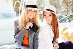 Two teenagers girl taking selfe with camera Royalty Free Stock Photography