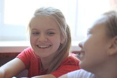 Two teenagers girls having fun at home. Close up Royalty Free Stock Images