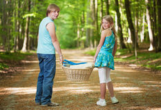 Two teenagers going to picnic Stock Photography
