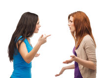 Two teenagers having a fight. Bullying, friendship and people concept - two teenagers having a fight Royalty Free Stock Images
