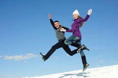 Two teenagers jumping Royalty Free Stock Images