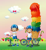 Two teenagers in a land full of sweets Royalty Free Stock Photo