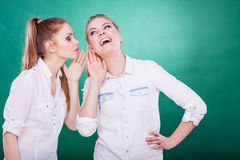 Two teenagers shares secrets, gossip Stock Photos