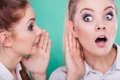 Two teenagers shares secrets, gossip Stock Photography