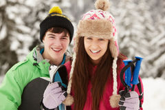 Two Teenagers On Ski Holiday In Mountains Stock Photos
