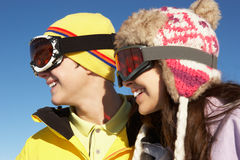 Two Teenagers On Ski Holiday In Mountains Stock Photography