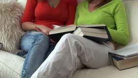 Two Teenagers Studying. At home on the sofa stock video
