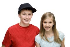 Two Teens. Two young teens with braces smiling Royalty Free Stock Photos