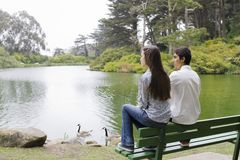 Two Teens on Bench Stock Photo