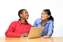 Two Teens With Laptop Computer - Horizontal Royalty Free Stock Image
