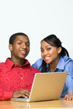 Two Teens With Laptop Computer - Horizontal Stock Photo