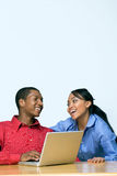 Two Teens With Laptop Computer - Horizontal Royalty Free Stock Photography